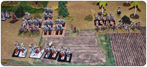Rosyjskie lewe skrzydło - widok od zachodu. Dragoni i kirasjerzy Duki oraz huzarzy i ułani litewscy Sieviersa.